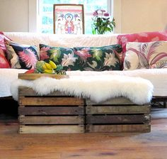Crates used for a coffee table...