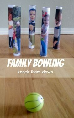 Family Bowling -  a fun family activity where you are allowed to knock down your loved ones... and much easier than real bowling for little guys.  Does your family like to bowl?