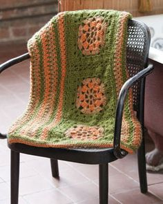 Harmonious throw blends granny squares and zig-zag panels using a convenient 'join as you go' method.  Free Crochet Pattern (Bernat requires making an account.)
