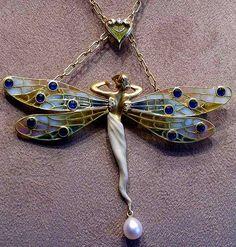 Art Nouveau dragonfly pendant