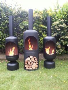 fire pits, chimney garden, idea, outdoor fire, logs