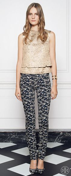 Gilded brocade tapestry meets Art Nouveau–style florals | Tory Burch Holiday 2014