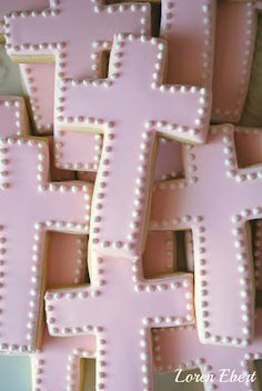pink cross cookies first communion cookies, cross cooki, cookie recipes