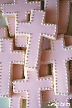 pink cross cookies
