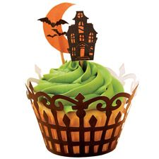 haunted house cupcake wrappers, baby shower cupcakes, cupcake holders, themed cupcakes, halloween fun, haunted houses, halloween cupcakes, halloween treats, baby showers