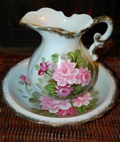 Vintage Porcelain Pitcher and Wash Basin Set Roses from Japan | eBay