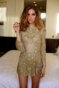 Sexy gold dress.