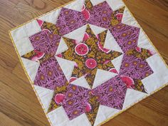 linda quilt, pillow, quilt block, swoon mini, mini quilts, folk print, miniquilt, minis, swoon quilt