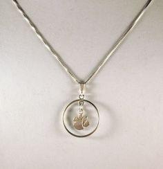 Circled Clemson Paw Pendant Necklace