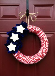 4th of July Chevron Ribbon Wreath