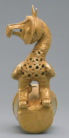 Staff Head with Owl, 5th–10th century  Colombia; Sinú  Cast gold