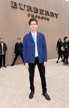 British musician George Craig wearing Burberry on the Prorsum Menswear A/W14 red carpet in London
