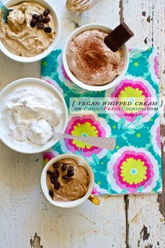 Vegan Coconut Whipped Cream {vanilla, mocha, coffee & chocolate flavors}   recipe on FamilyFreshCooking.com