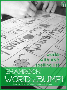 FREE Shamrock Sight Word Game {Word Bump!} spelling games, sight word games