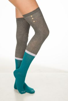 Color Block with Buttons Over the Knee Socks in Teal and Grey. These are just so cute and would look adorable with boots, under a dress or skirt