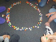 Cute game to practice multiplication facts using milk caps. Write math fact on round sticker label with answer on the inside of cap . Students take turns selecting a cap and giving the answer.