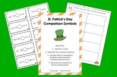 St. Patty's Day Comparison Math Freebie