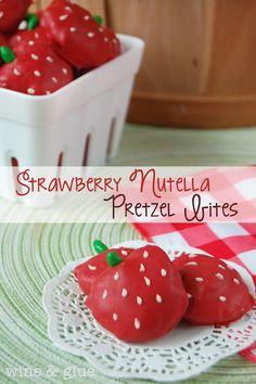 Nutella Stuffed Pretzels in the shape of Cute Little Strawberries! via www.wineandglue.com