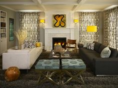 interior design, living rooms, rug, family rooms, grey, families, live room, lemon yellow, curtain