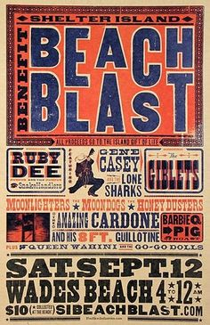 beaches, vintage typography, beach blast, layout, art, type, graphic design posters, print, typographi