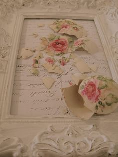broken eggshells painted with pink roses - can use this in the technique for coating with eggshells too, this is so creative and beautiful, vintage, shabby chic, cottage, diy, eggs, pink roses
