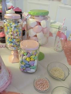 Candy jars from pickle jars