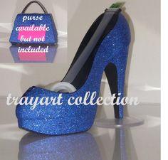 Gem embellished Blue Sparkle High Heel Shoe TAPE DISPENSER Stiletto Platform - office supplies - trayart collection. $25.00, via Etsy.