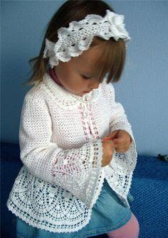 DIY: White Jacket free crochet graph pattern little girls, woman fashion, headband, pattern, free crochet, crochet jacket, sleev, crochet graph, kid