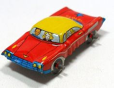 60s tin toy car, red with blue & yellow, from Japan