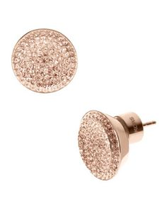 Michael Kors Pave Stud Earrings, Rose Golden.