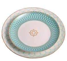 fine bone china turquoise & gold plate set