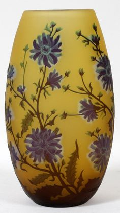 AFTER GALLE GLASS VASE, H 10 1/2""