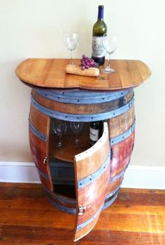 This Wine Barrel Bar will be a wonderful addition to your home and wine cellar.