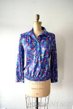 vintage 1970s shirt  70s royal violet jewel by shopREiNViNTAGE, $ 34.00