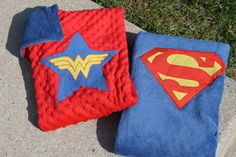 TWIN Super Hero Blanket Capes Superman AND Wonder Woman by IntoCreations