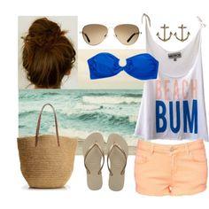 "gold anchor earrings - blue bandeau bikini top - light tan aviator sunglasses - cream/gold flip flops - creamsicle orange shorts - woven straw bag - white/ creamsicle orange/ bue ""Beach Bum"" tanktop"