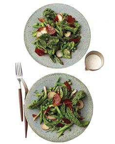 Asparagus, Spinach, and Crisped-Prosciutto Salad Recipe