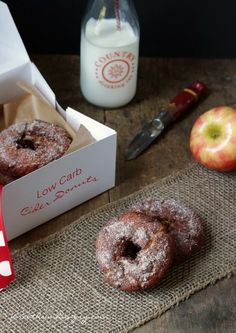 Fried Apple Cider Donuts - can we all just take a break from pumpkin for a minute?  Low Carb, Gluten Free, Keto, LCHF, Paleo, and Atkins Diet friendly recipe!