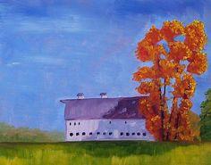 Barn Landscape Oil Painting Original Landscape by smallimpressions, $100.00