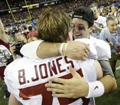 Alabama center Barrett Jones and quarterback AJ McCarron celebrate after their win over GA bulldogs for SEC Championship 2012. Roll Tide!!