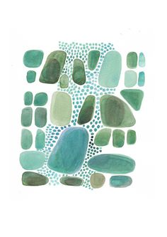 Abstract painting  Green Pebbles  Giclee print by LouiseArtStudio, $30.00 color mix, art journal, watercolor paintings, blue, louiseartstudio, origin watercolor, artist creativ, green pebbl, print