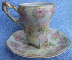 Royal Bayreuth Rose Tapestry Hot Chocolate  Cup & Saucer