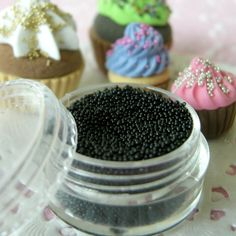 Fake Sprinkles / Faux Candy Sprinkles Topping (Black) (4ml) Miniature Sweets / Dessert / Cake / Cupcake Decoration Nail Art. $1.99, via Etsy.