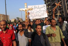 Coptic Christians protesting the U.S. backed oppressive Muslim government.