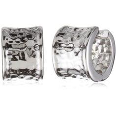 ELLE Jewelry Hammered Sterling Silver Hoop Earrings