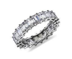 Emerald-Cut Diamond Eternity Ring in Platinum