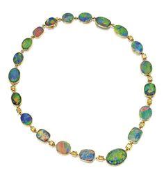 18 Karat Gold, Black Opal and Colored Diamond Necklace, J.E. Caldwell, Circa 1920