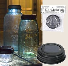 RUSTIC BROWN SOLAR POWERED MASON JAR LED LID LIGHT     FITS ALL STANDARD THREADED MASON and BALL FRUIT JARS     Great for Weddings, Pathways, Patio Decorations     The hottest item of the season!  Fits any mason jar. Use these lights outside or inside. Water-resistant solar cell, replaceable and rechargeable battery, and bright LED are tucked inside this standard size mason jar lid.  Jar is not included.