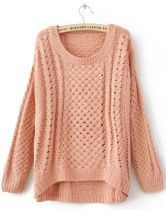 #sheinside  Pink Round Neck Long Sleeve Hollow Sweater 0.00