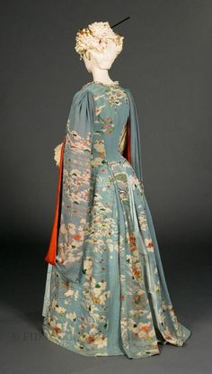 Victorian Solstice - GDN Facebook  Kimono dressing gown, c.1885, FIDM 80.40.1. A Victorian gown made from a Japanese kimono.